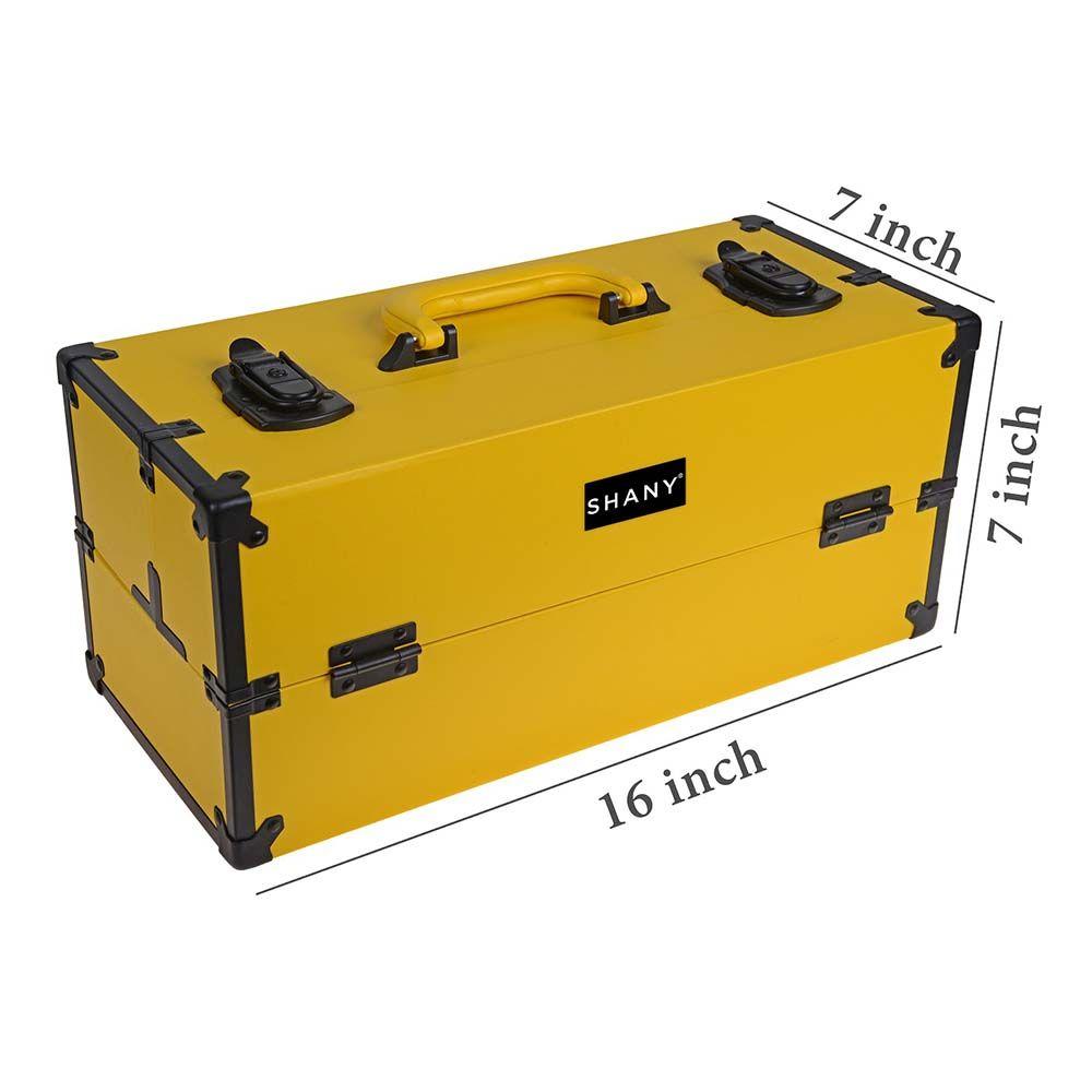 29ec0aa3b0be8a modern organizer yellow | Modern Pro Cosmetics Train Case - Makeup organizer  with Brush Holder .