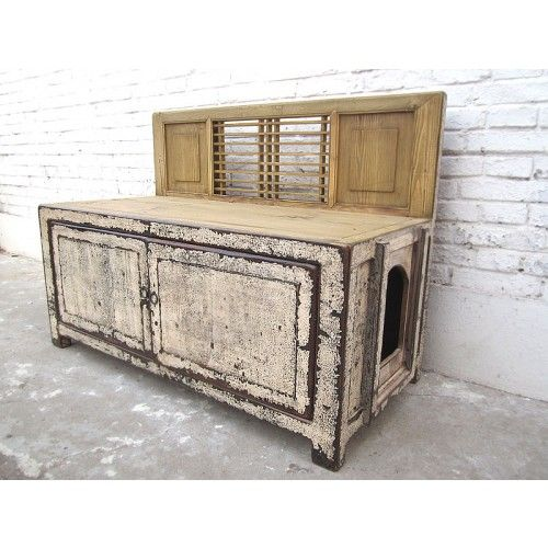 china katzen klo in sitzbank sitzkommode shabby chic kalkwei zwei t ren von luxury park cat. Black Bedroom Furniture Sets. Home Design Ideas