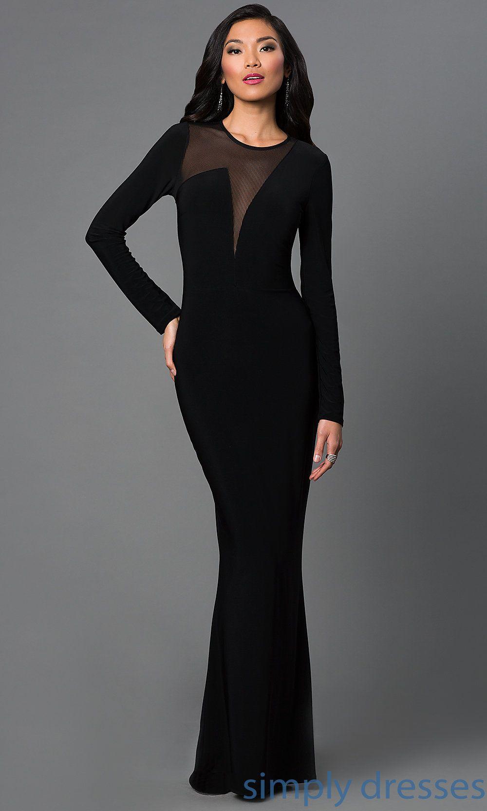 Long sleeve black wedding dresses  LongSleeve Black Formal Gown  PromGirl  Long sleeve gown Panel