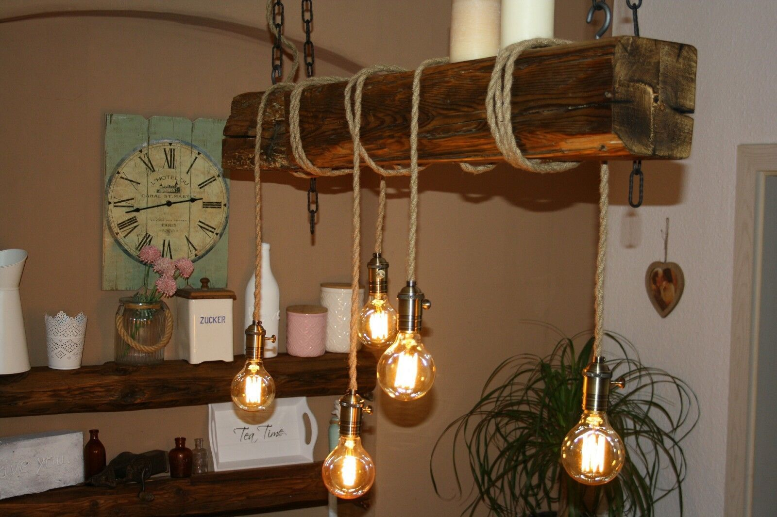 Lampe Aus Alten Balken Lampe Holzbalken Lampe Esstischlampe