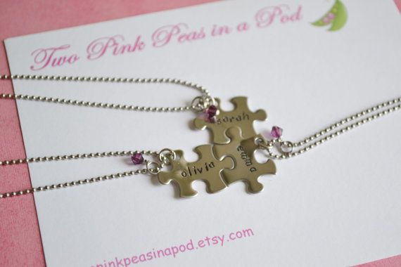 Best Friends & Sisters Puzzle Piece Stainless Steel Necklaces with Swarovski Crystal Beads - Set of 3