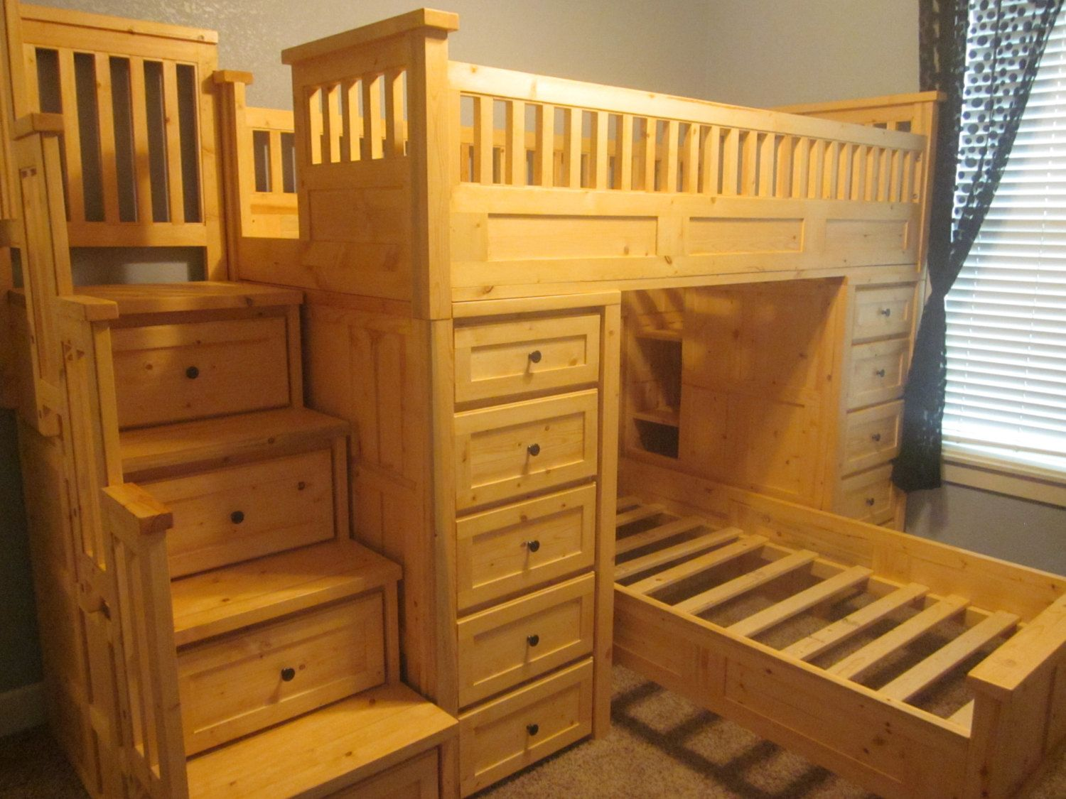 Twin loft bed with stairs and storage  Large twin over twin loft bed with tons of storage via Etsy