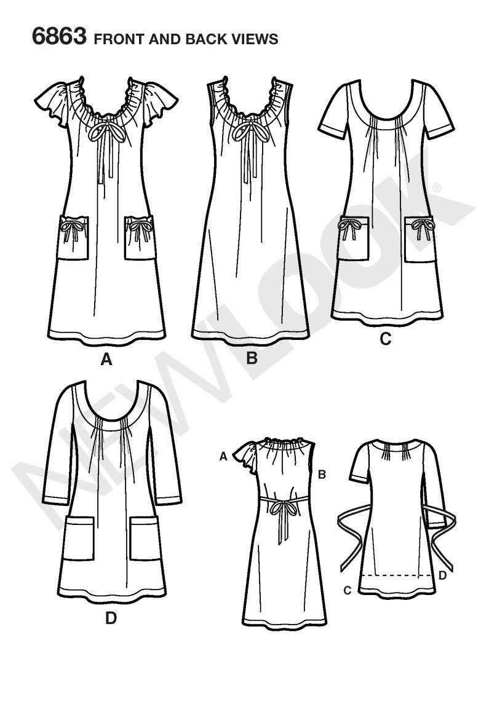 Womens Knit Dress or Mini Dress Pattern 6863 New Look