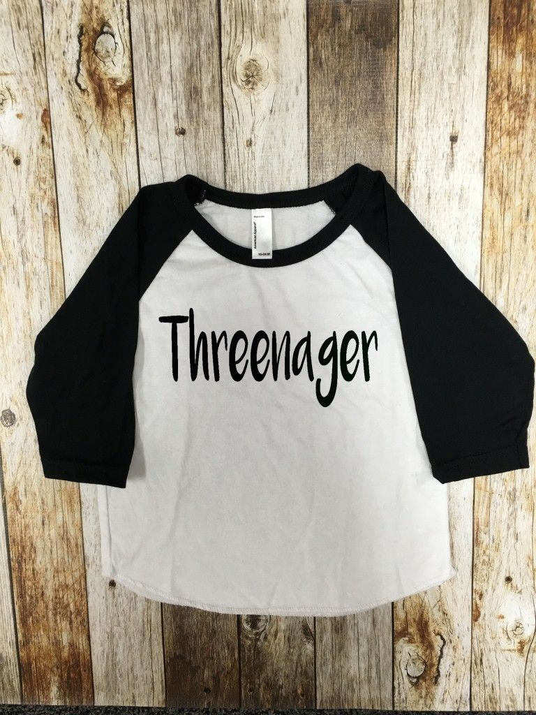 Threenager Birthday Baseball Tee