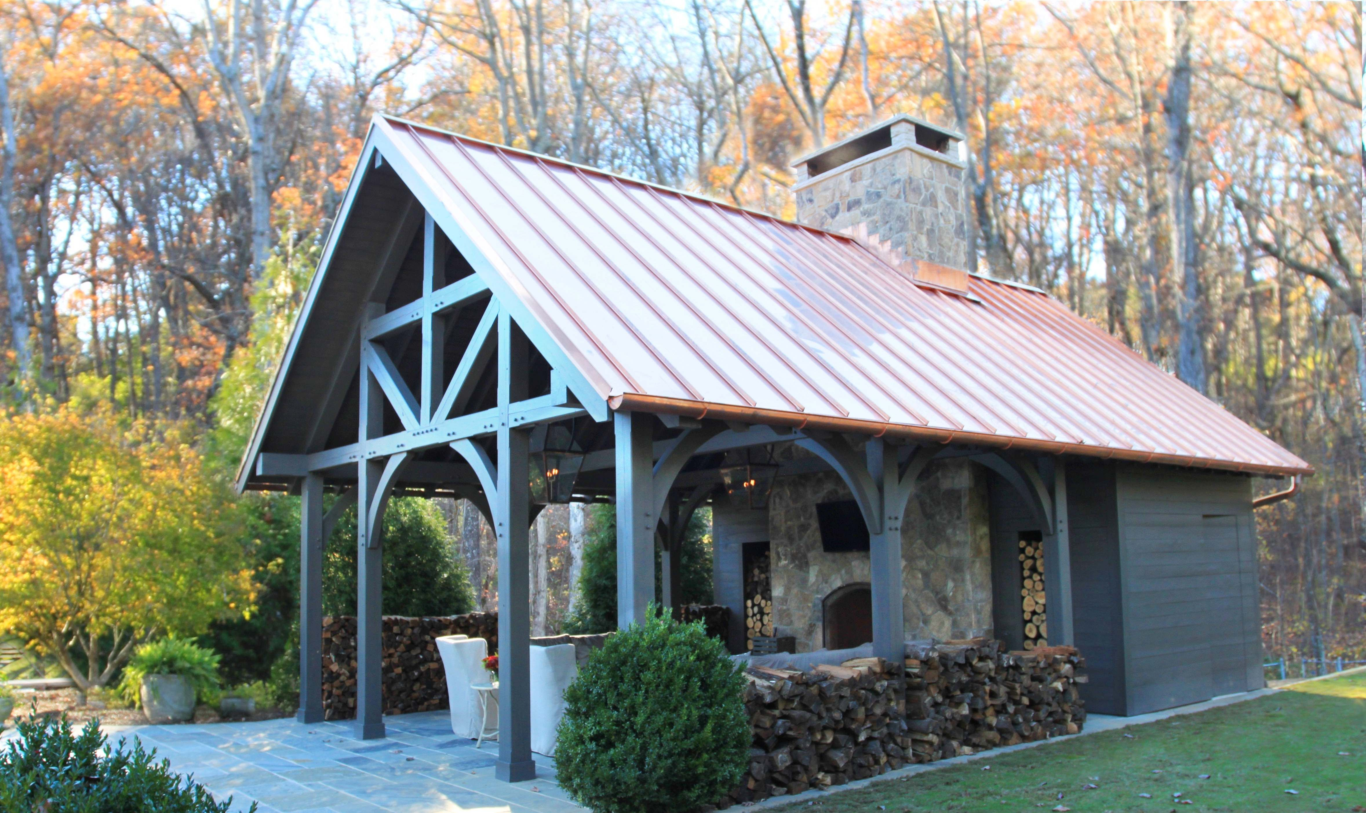 Timber frame pavilion copper roof | House Ideas | Pinterest