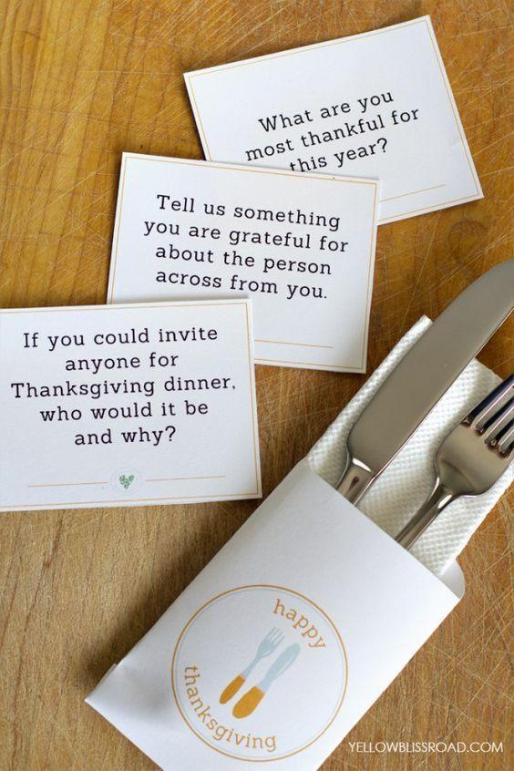 Download Free Printable Thanksgiving Conversation Starters -   25 ribbon crafts thanksgiving ideas