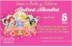 Invitacion Princesas Disney Nuevos Diseños Originales Y