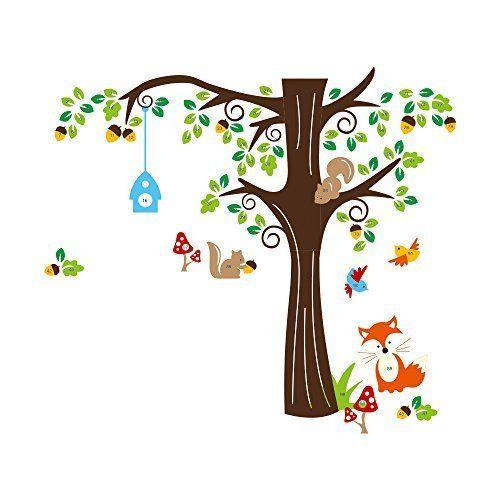 Songmics Cartoon Waldtiere Kinderzimmer Wandaufkleber Wandtattoo Baum  FWT04C, Http://www.amazon
