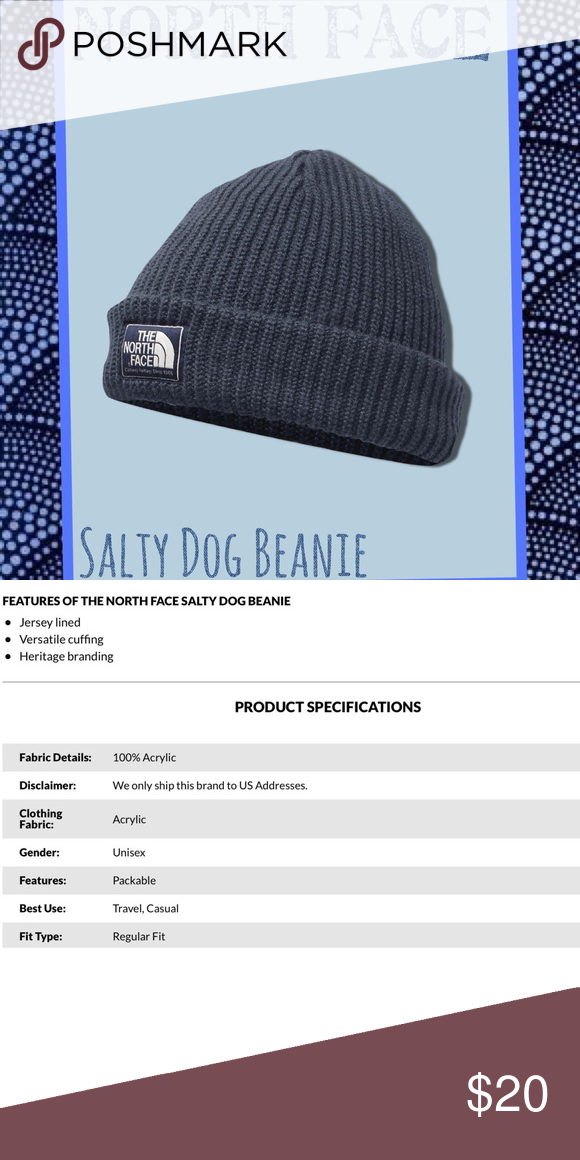 59cbdb4016a 🆕North Face SALTY DOG Beanie Navy Blue Knot Beanie.. North Face Logo.  Fleece Lined. North Face Accessories Hats