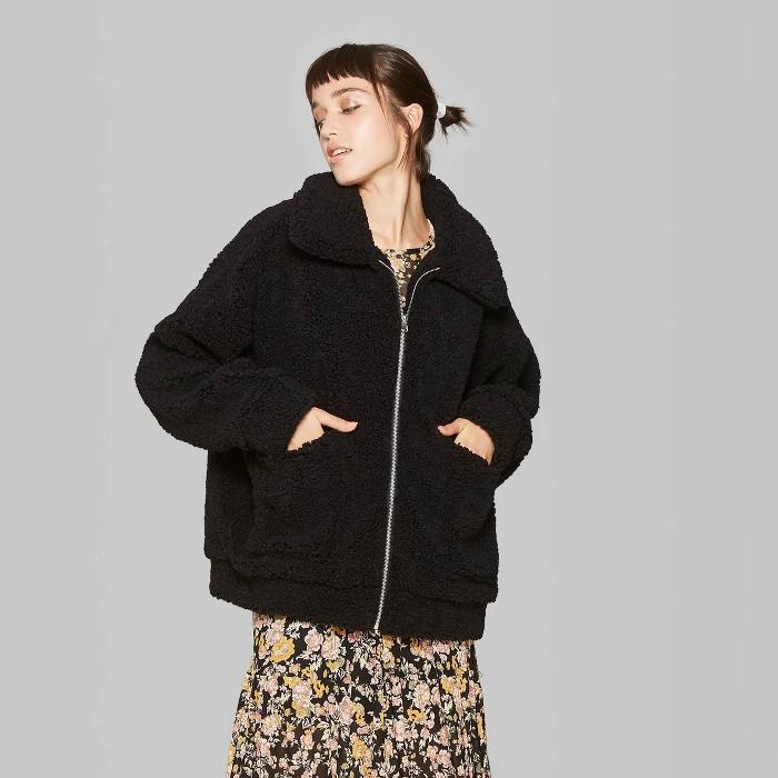 Women's Long Sleeve Oversized ZipUp Sherpa Faux Fur