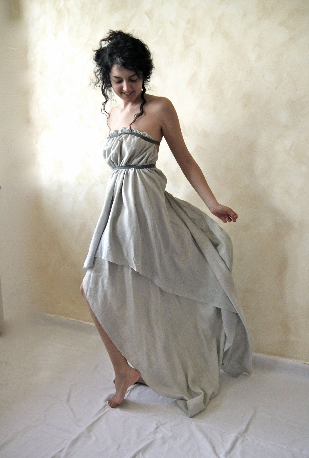 Ethereal fairy gown in dusty light blue rough silk fashion