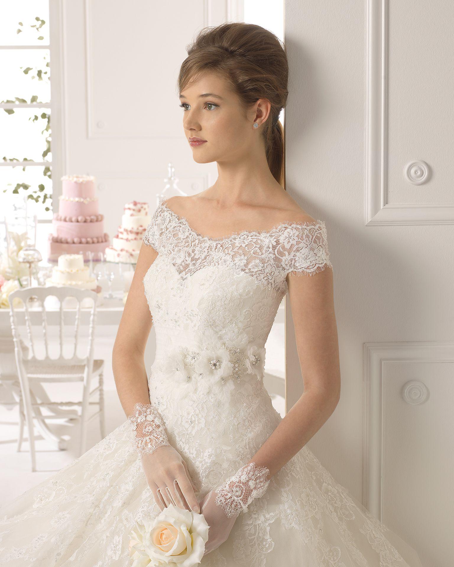 Ayamonte vestido de novia tejido encaje, pedreria y tul | Wedding ...