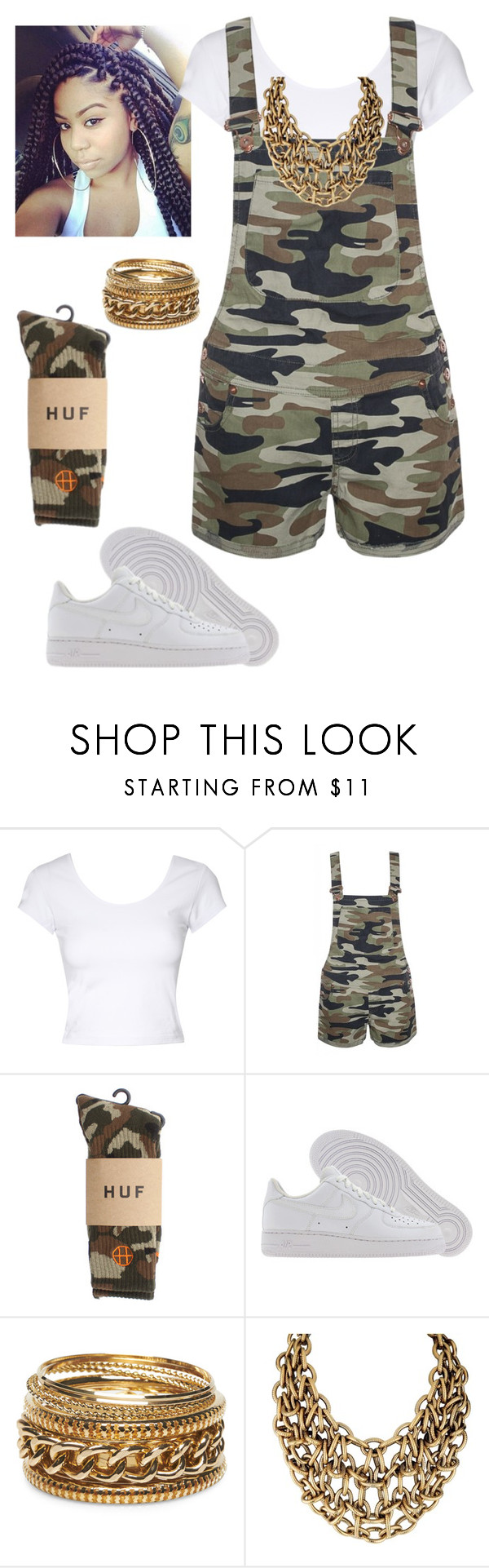 """""""Camo"""" by shamara97 ❤ liked on Polyvore featuring Jane Norman, HUF, NIKE, Wet Seal, women's clothing, women, female, woman, misses and juniors"""