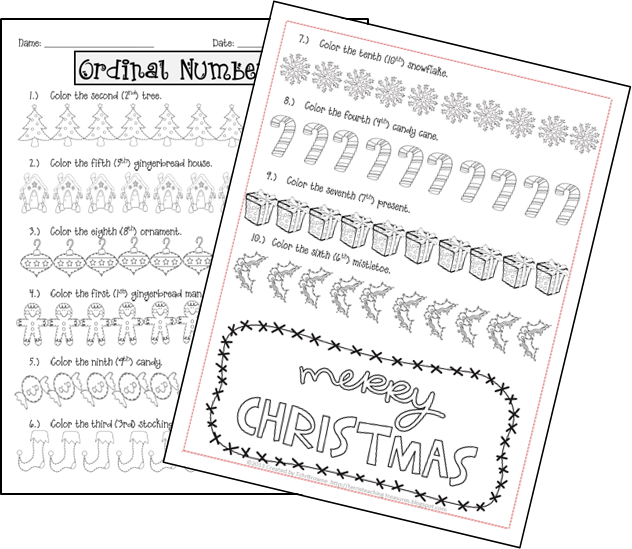 Gingerbread Ordinal Numbers   Navidad