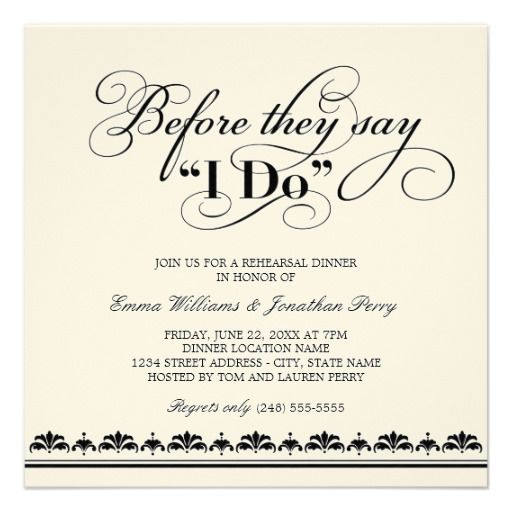 Wedding Rehearsal Dinner Invitation Vows