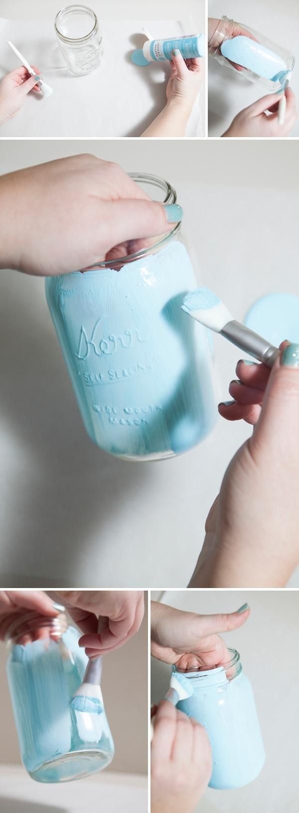 Learn step by step how to paint mason jars