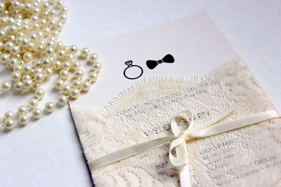 DIY lace wedding invitations