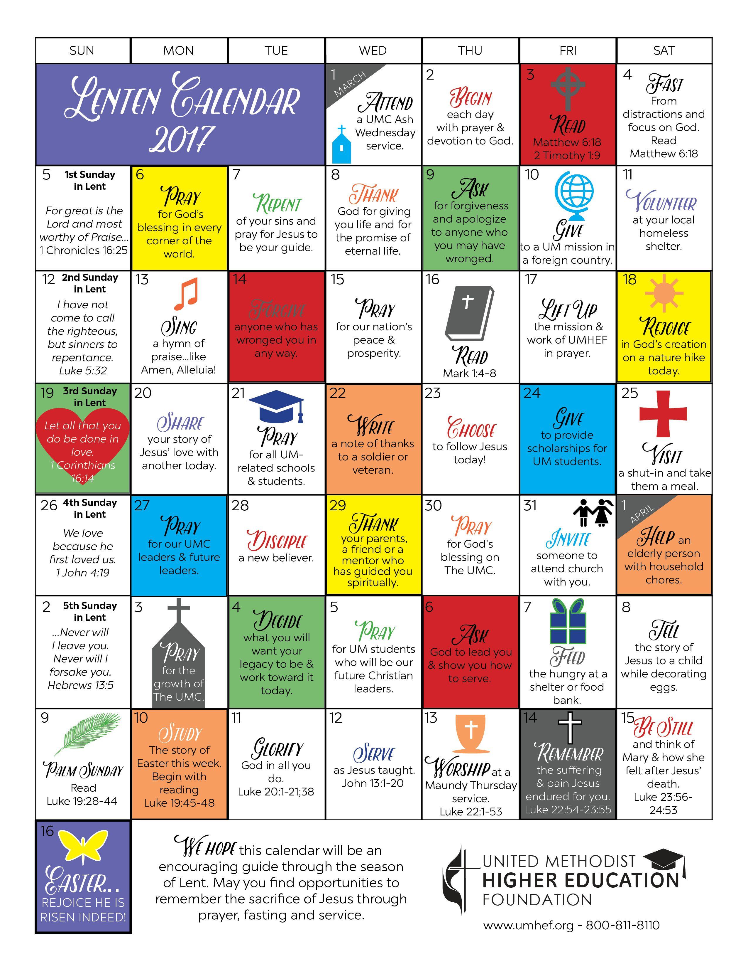 Printable Lent Calendar United Methodist Higher Education Foundation Lenten Kids Calendar Lent