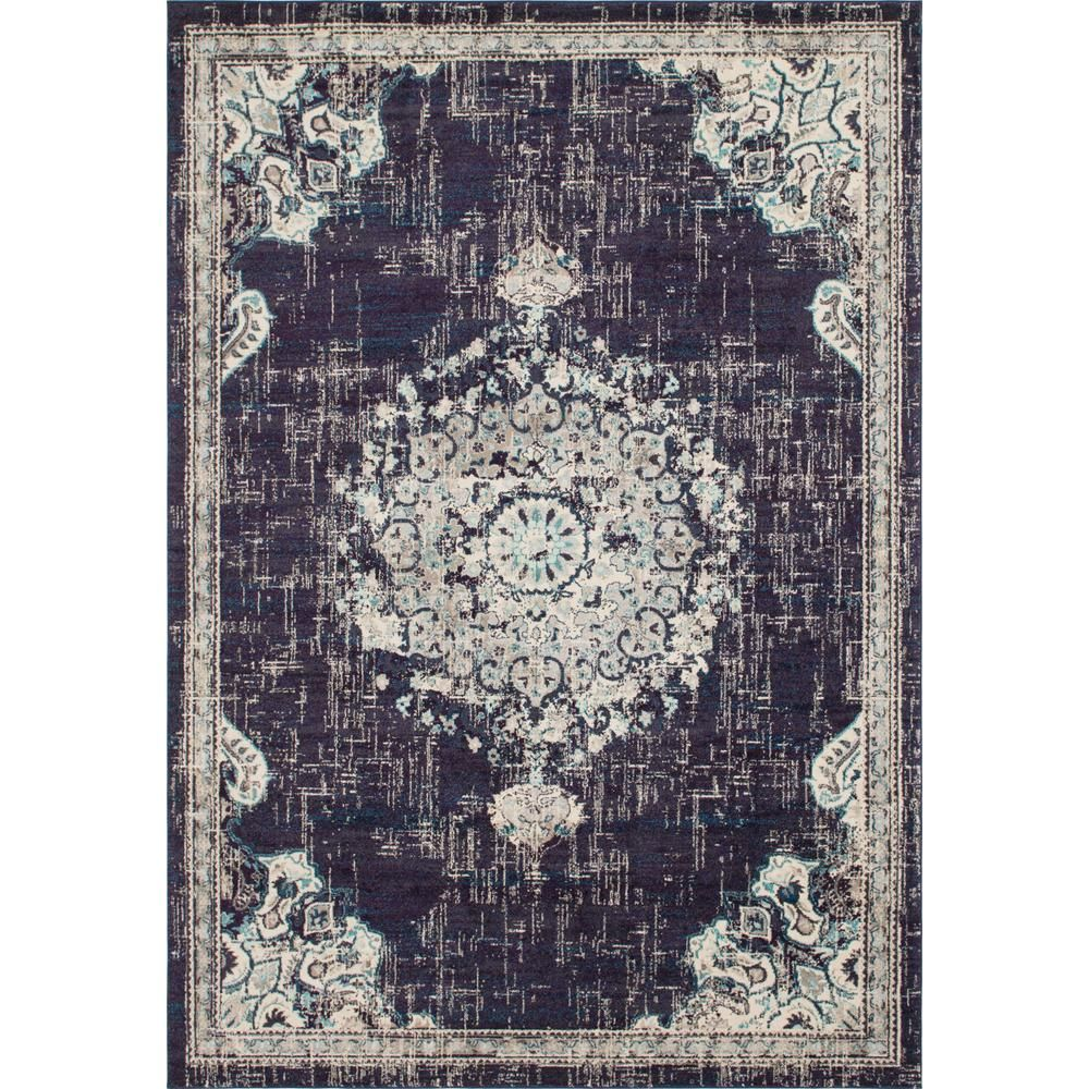 Unique Loom Penrose Alexis Navy Blue 10 Ft X 14 Ft Area Rug