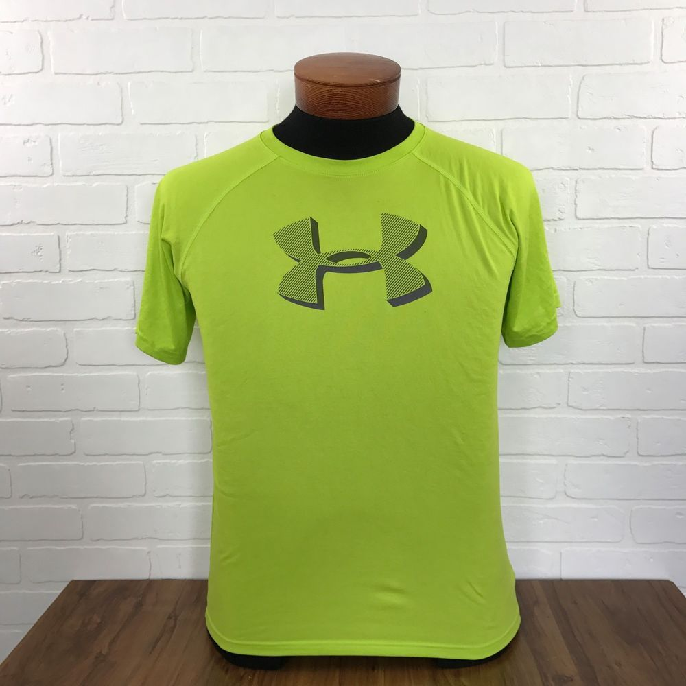 Neon Green UA Under Armour T Shirt Loose HeatGear Youth Boys XL YXL Logo  #Underarmour #TShirt