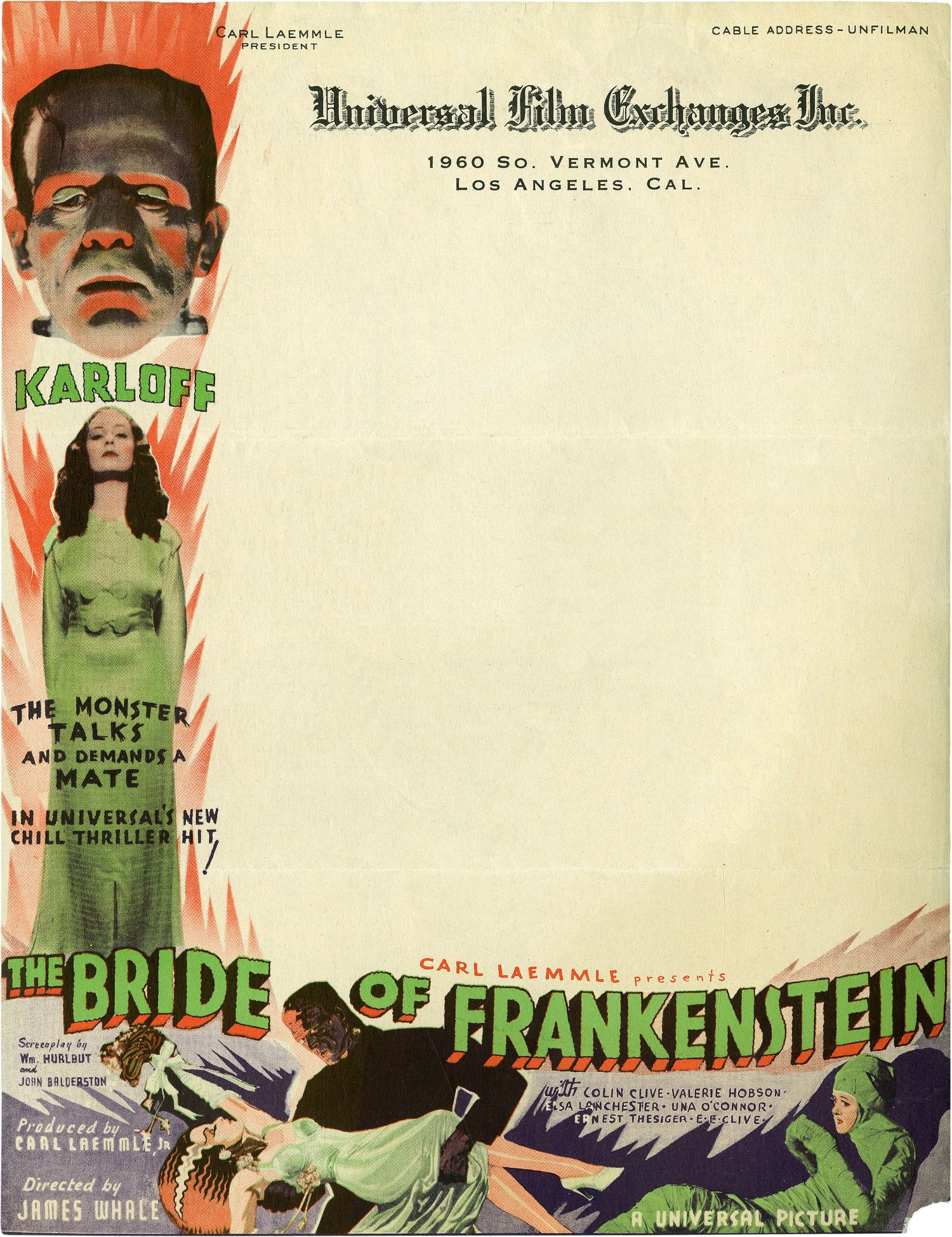 Unutterably brilliant Universal letterhead promoting The Bride of Frankenstein, 1935