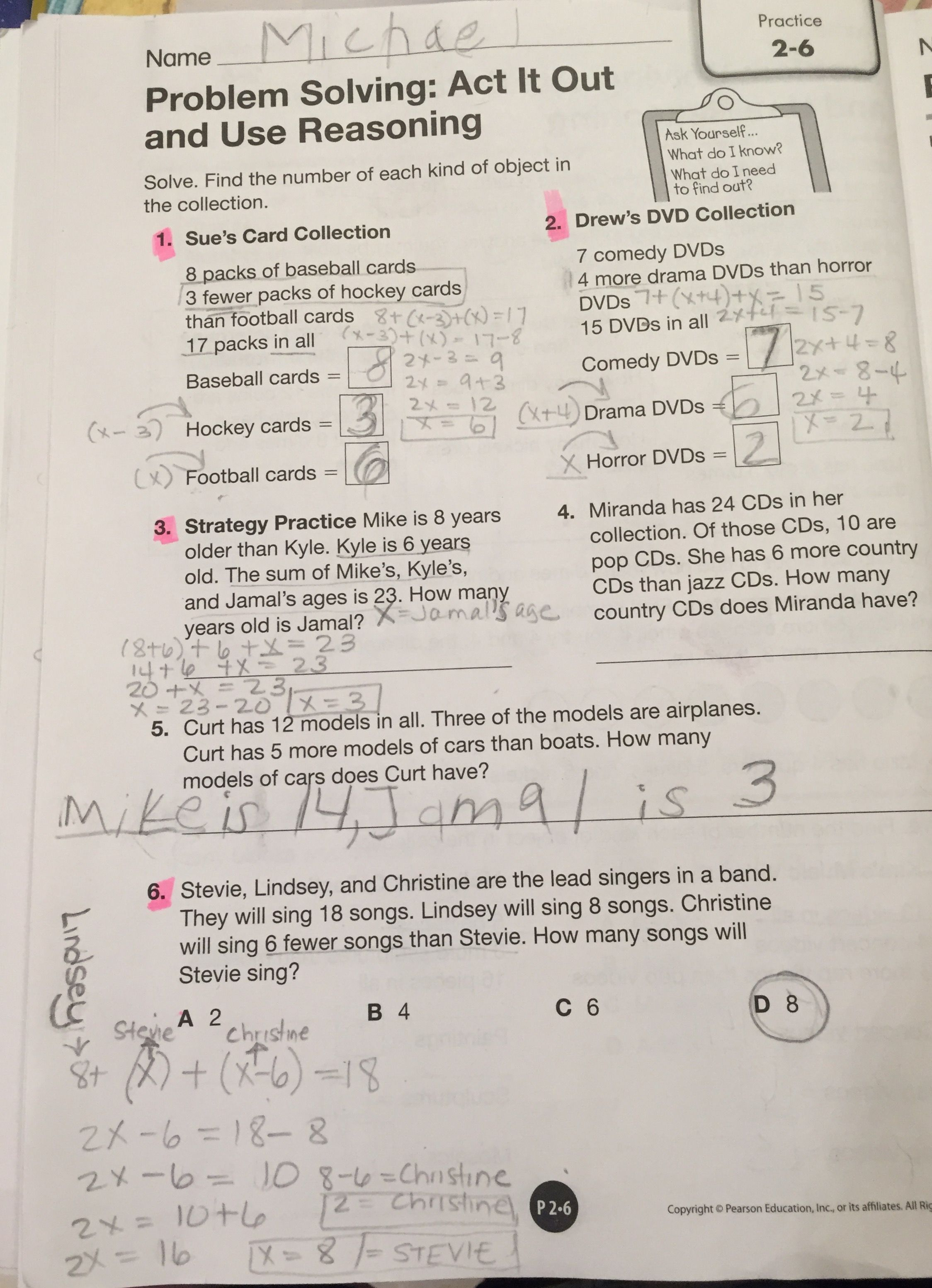 Worksheets Pearson Education 4th Grade Math Answer Key envision math grade 4 topic 2 6problem solving act it out and use and
