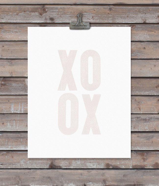 XOXO art print - custom colors - 11 x 14 - word art. $22.00, via Etsy.