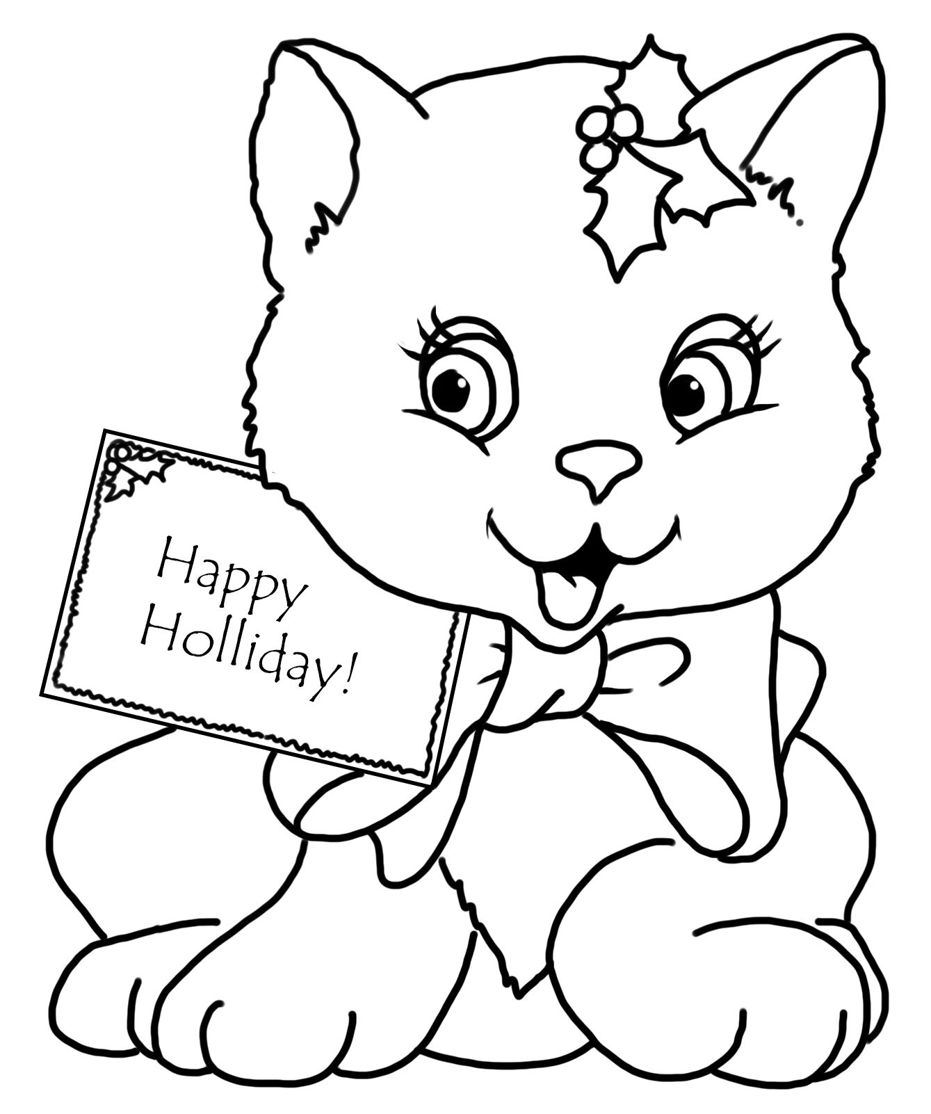 Christmas Coloring Page With Cat And Greeting Cat Coloring Page Christmas Coloring Sheets Coloring Pages