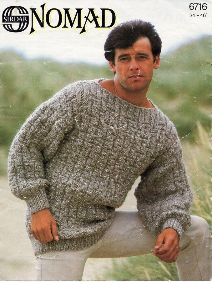 323db967271867 mens chunky sweater knitting pattern pdf mens slash neck loose fit jumper  Vintage 70s 34-