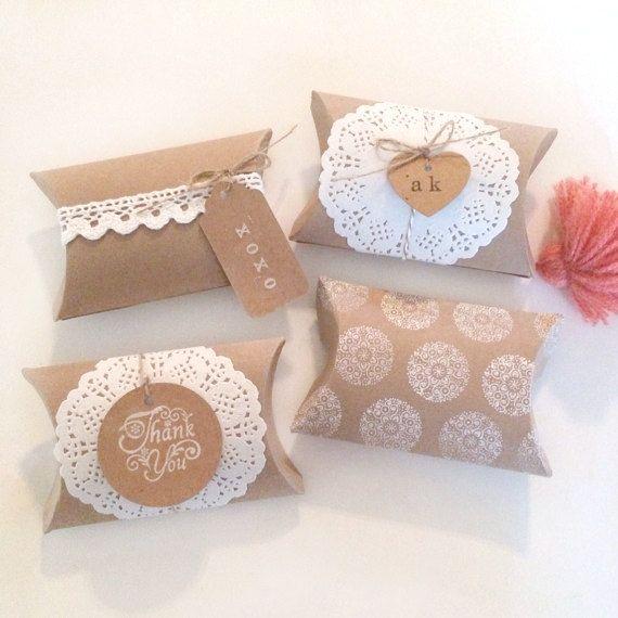 18 Blank Pillow Kraft Boxes Pillow Favor Box Wedding Favors Kraft Boxes