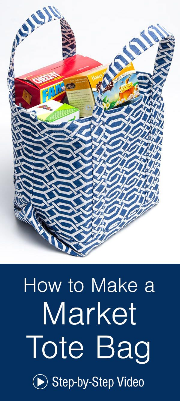 How to Make a Market Tote Bag - Tote bags sewing, Market tote bag, Grocery bag pattern, Shopping bag pattern, Bag patterns to sew, Reusable grocery bags - Reusable grocery bags are becoming quite popular as more stores and shoppers try to be ecofriendly  We've created a great little market tote bag that is perfect for loading up with grocery essentials or carrying to the farmers' market  You can make a tote bag for yourself with the help of this howto video