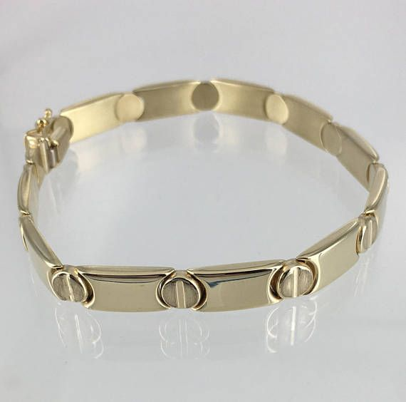 c359fd627 14K Yellow Gold Link Style bracelet with Cartier inspired screw head  design. Yellow Gold Hollow links weighing 12.2 grams. Excellent Condition  with box ...