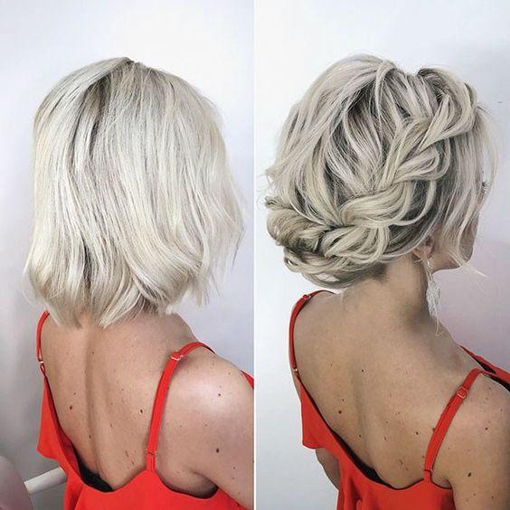 35 Stylish Wedding Hairstyles For Short Hair In 2019 Wedding Hairstyles Short Wedding Hairstyle Sho Short Hair Updo Short Wedding Hair Braids For Short Hair