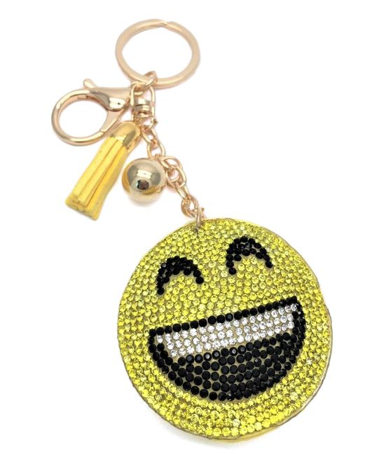 Yellow Rhinestone Smiley Face Purse Charm