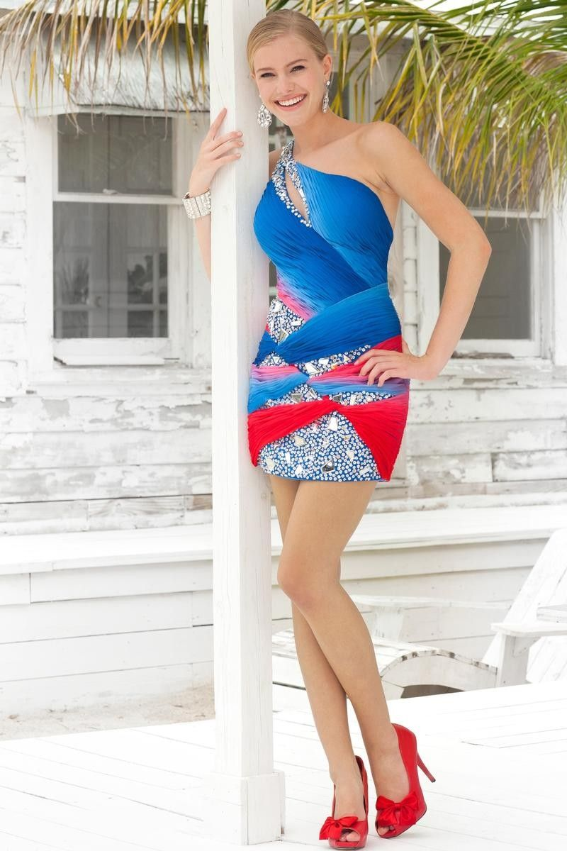 Red, Silver, and Blue Sparkly One-Shoulder Dress