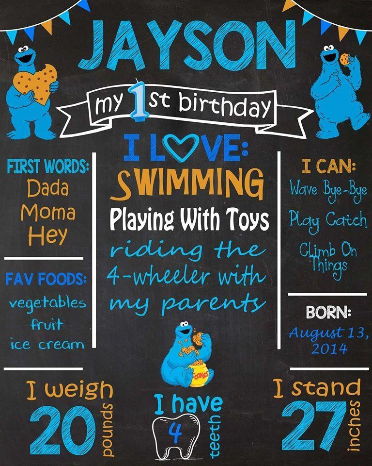 Cookie Monster Birthday Chalkboard   Cookie monster ...