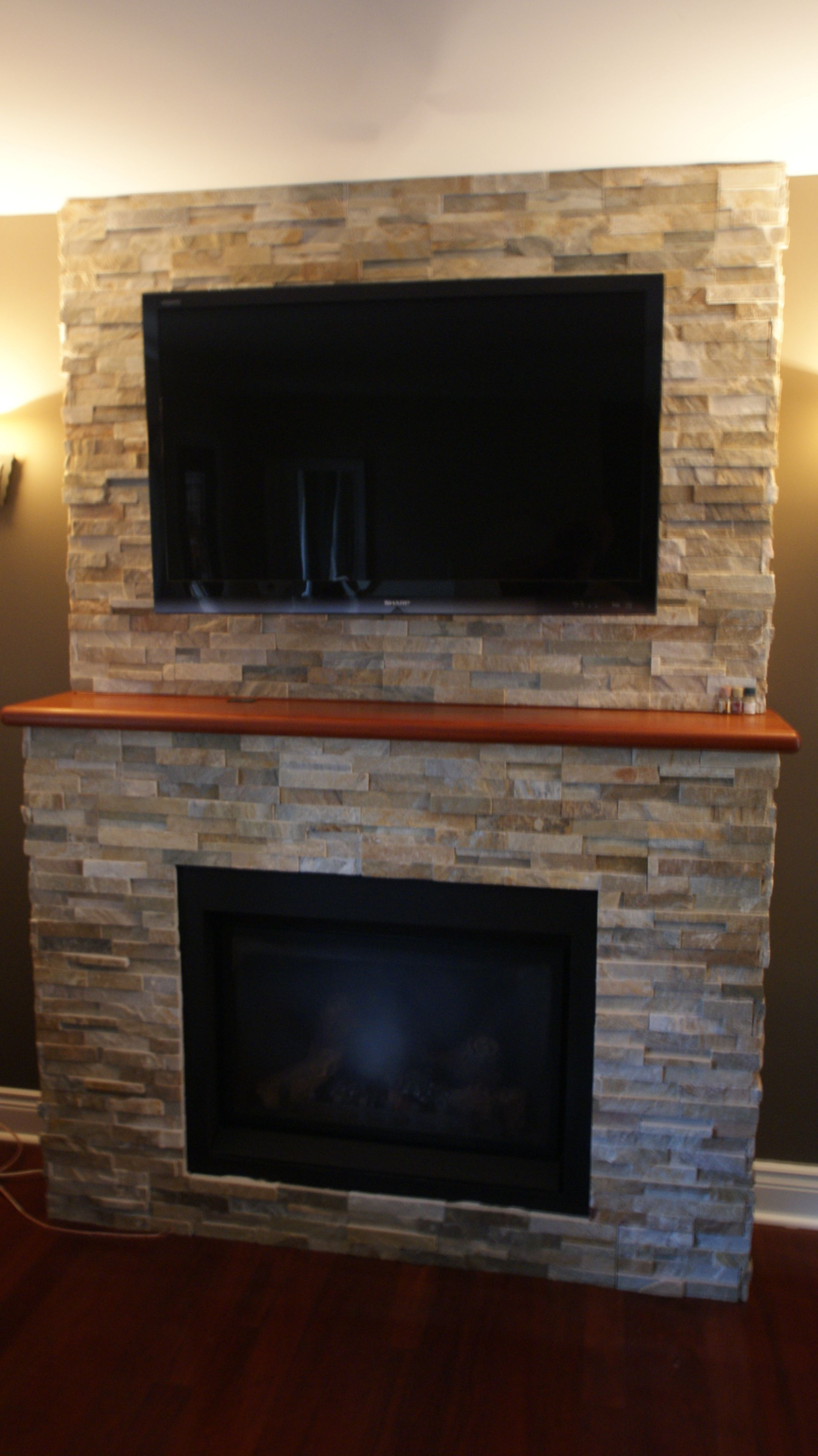 Natural Stone Fireplace Tv Mounted Over Fieplace Gas Fireplace