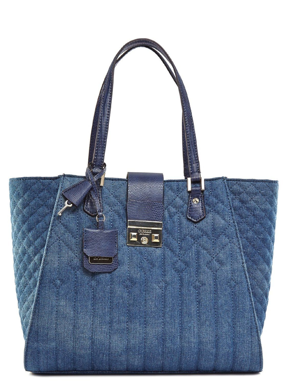 Guess Women S Kalen Carryall Denim Tote Handbags