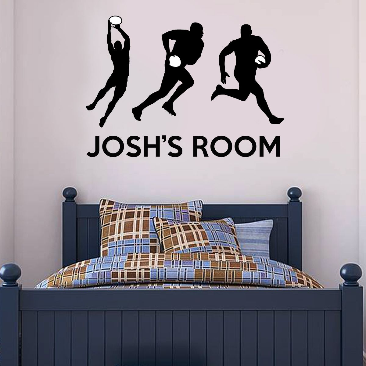 Black Rugby Players Name Wall Sticker Wall Stickers Football Wall Stickers Bedroom Decorations Kids Bedroom Spor Wall Stickers Bedroom Black Sports Wall