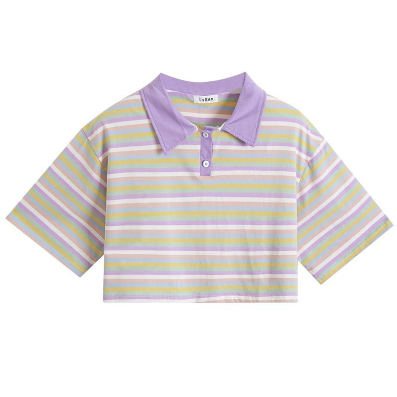 CUTE LOOSE PURPLE STRIPE CROP TOP POLO SHIRT BY22306 #cutecroptops