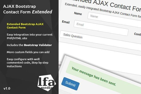 cool AJAX Bootstrap Contact Form Extended CreativeWork247 - Fonts ...