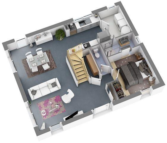Modèles et plans de maisons u003e Modèle à étage Ligne Citadine - logiciel pour faire plan de maison