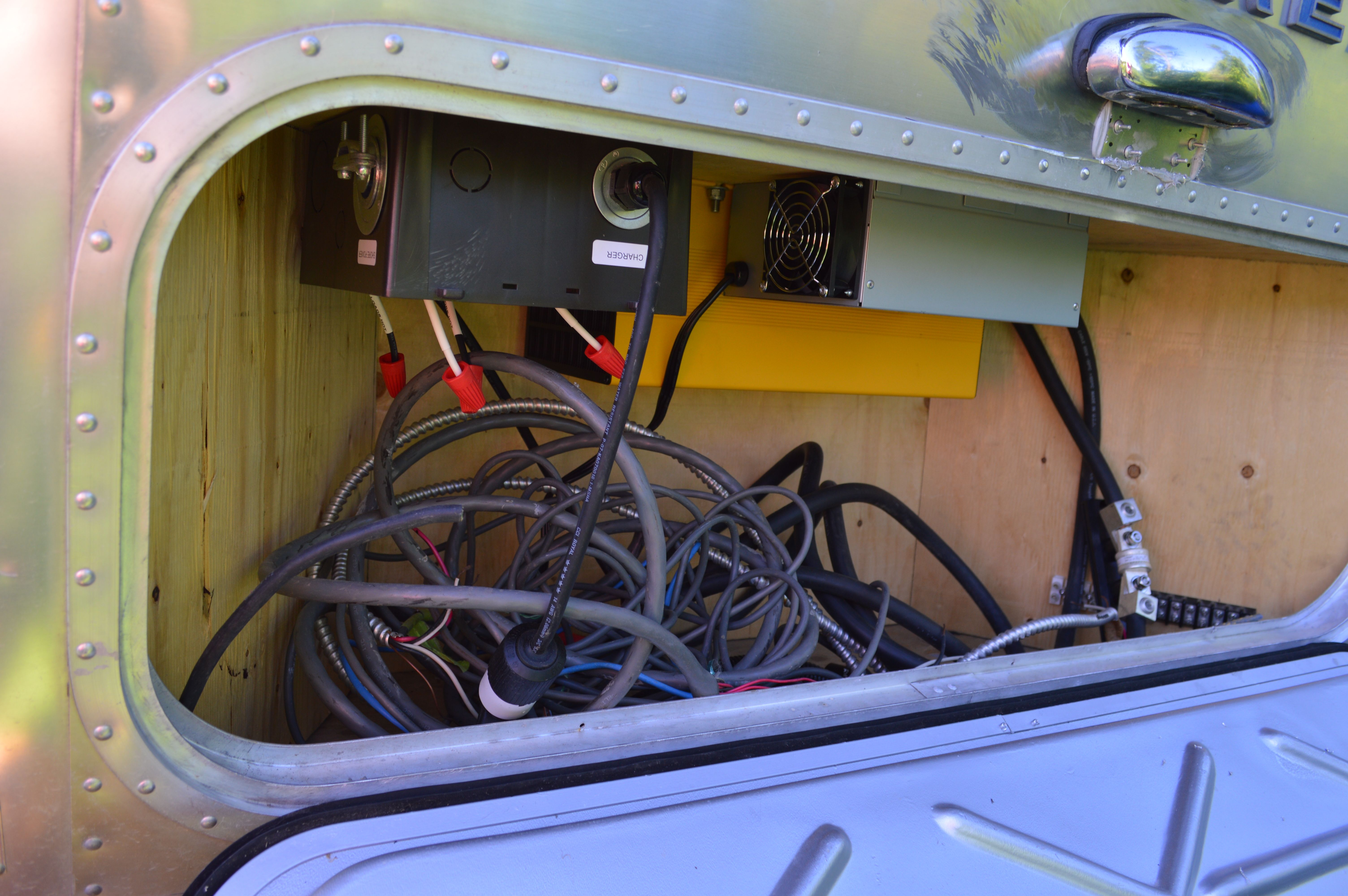 We Built A Box At The Back Of Airstream To House All Solar 07 Charger Fuse Electrical