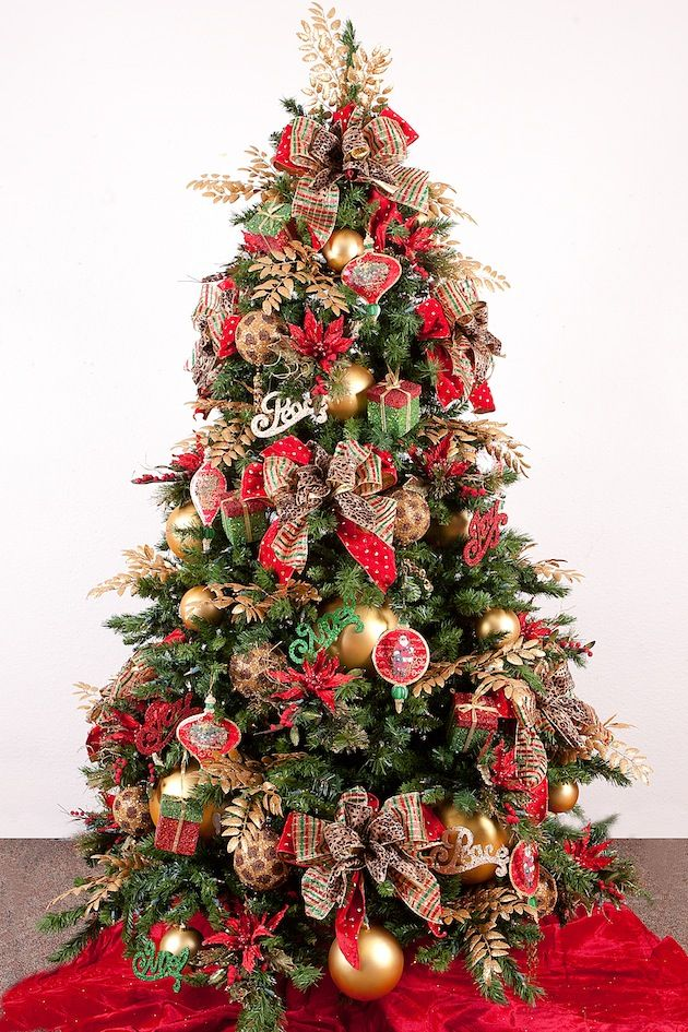 Wonderful Christmas Tree Mixture Part - 6: Metallic-Christmas Tree-Gone Wild With A Touch Of Leopard Ribbon Mixed With  Plaids
