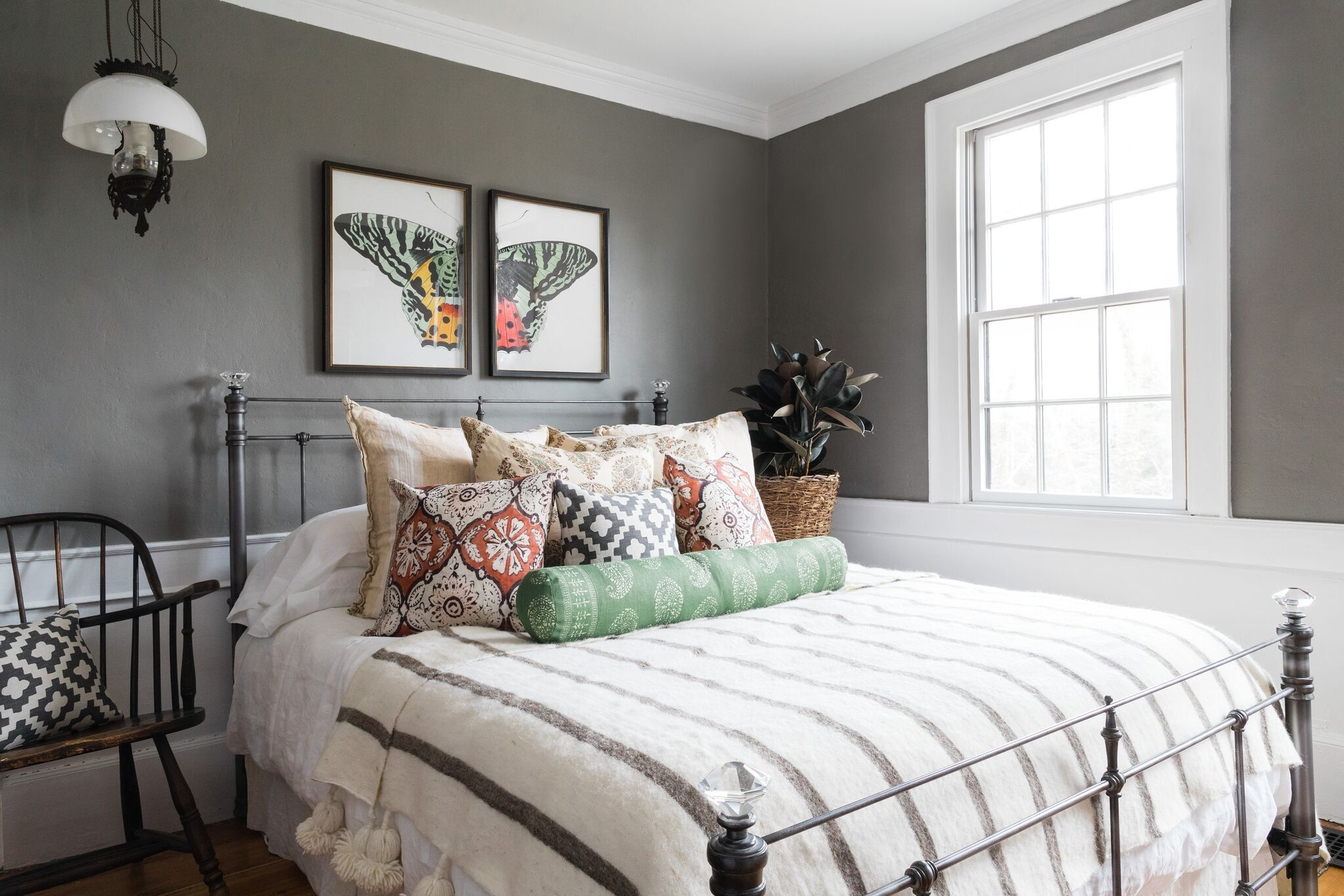 Master Bedroom with Peter Dunham pillows and antique ...