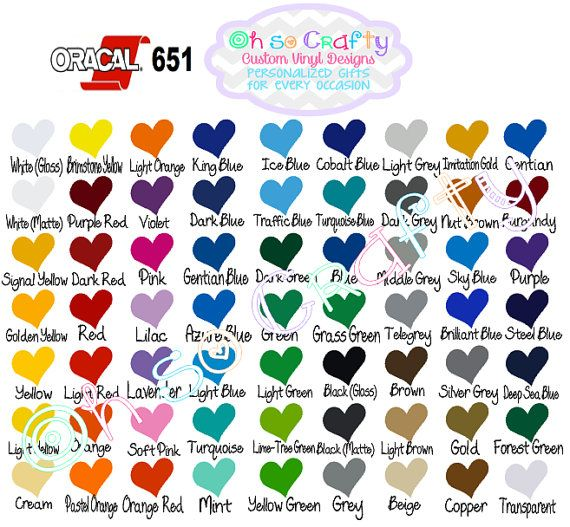 Vinyl Color Chart Combo Pack 651 Oracal Vinyl Siser by OhSoCraftyy