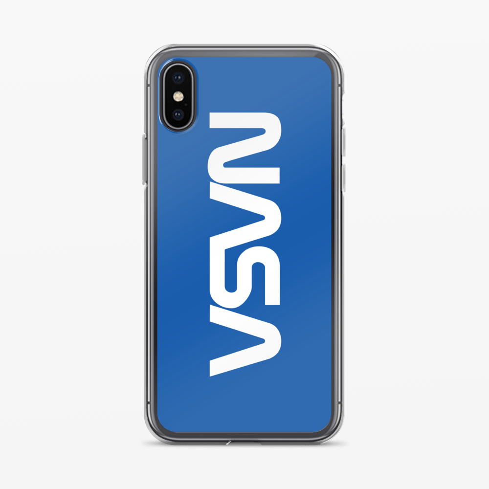 iPhone X Original NASA Worm Logo White in Blue The