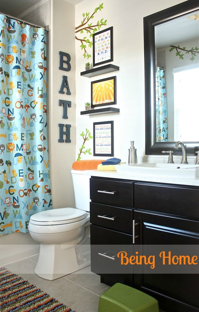 Being Home Boy Bathroom Makeover Abc And Nature Theme Using