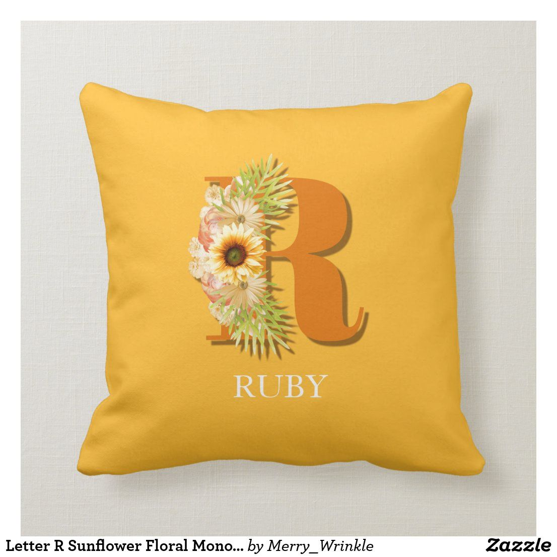 Letter R Sunflower Floral Monogram with Name Throw Pillow ...