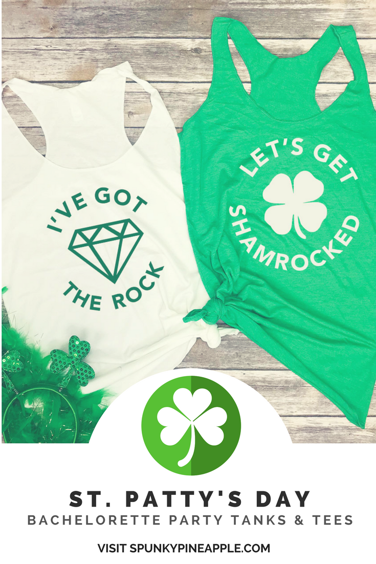 152cab4e9 St. Patty's Day Bachelorette Party Tanks & Tees from spunkypineapple.com -  I've Got the Rock Bride Tank Top - Let's Get Shamrocked Bridal Party Tanks